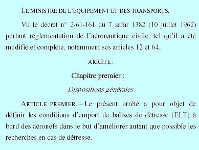 Mr Ghellab réglemente l'emport des balises de détresse