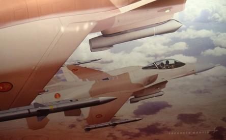 Maquette d'un avion F16 aux couleurs des FRA présentée par Lockheed Martin au salon AéroExpo - Photo Aeronautique.ma