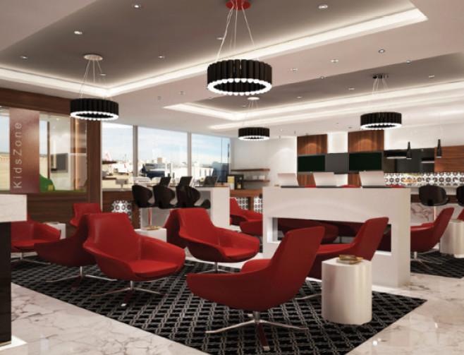 Design du salon d'arrivée de l'aéroport Marrakech