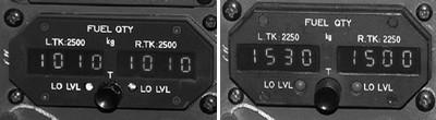 Indicateur de carburant ATR72 (à gauche) et ATR42 (à droite)