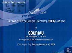 SOURIAU reçoit le prix AIRBUS du meilleur fournisseur en 2009