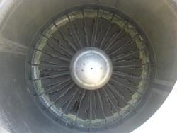 Vue de l'état des ailettes d'un turboréacteur Pratt & Whitney après l'impact d'un oiseau
