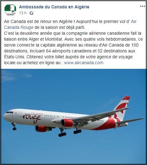 Air Canada Rouge lance un service saisonnier Montréal-Alger pour la deuxième année consécutive