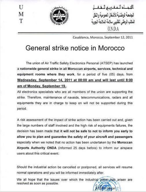 Les Electroniciens de la sécurité aérienne en grève à partir d'aujourd'hui