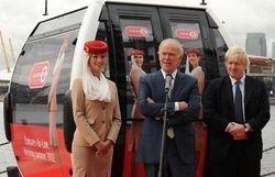 Le président d'Emirates, Tim Clark, et le Maire de Londres,Mayor Boris Johnson