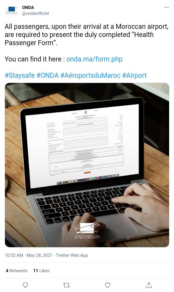 L'Office National Des Aéroports recommande le renseignement en ligne de la Fiche Sanitaire du passager