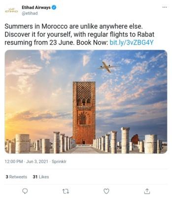 Etihad reprend ses vols vers Rabat et Phuket avec des tarifs promotionnels