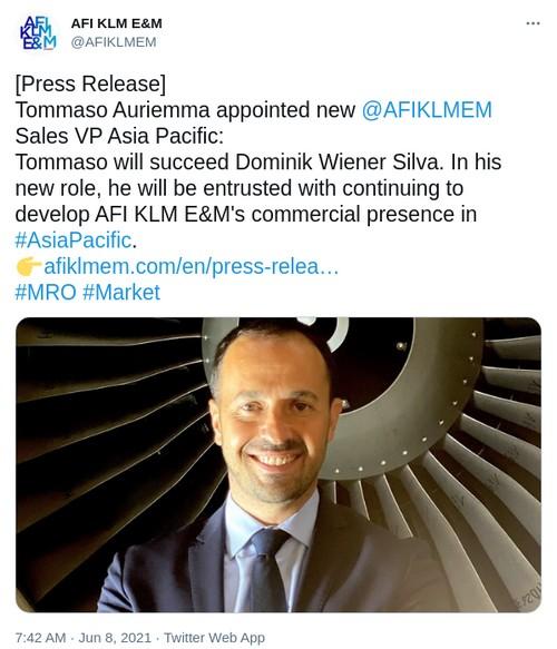 AFI KLM E&M : Le PDG d'Aerotechnic Industries nommé vice-président des ventes Asie-Pacifique