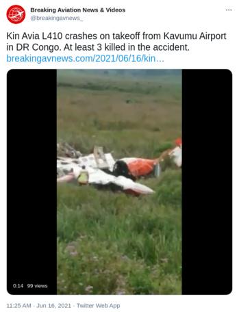 RDC : Un avion cargo LET L-410 de KIN AVIA s'écrase juste après le décollage