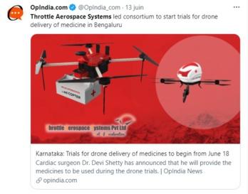 L'Inde lance des essais pour la livraison de médicaments par drone