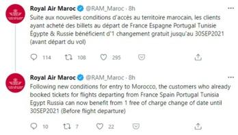 Royal Air Maroc réagit aux nouvelles conditions d'accès au Maroc