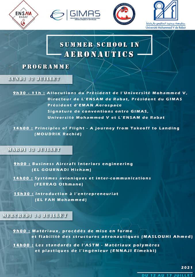 L'ENAM et L'ENSAM Rabat organisent la Summer School In Aeronautics