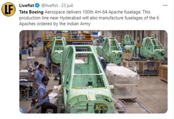 Tata Boeing Aerospace livre le 100e fuselage de l'AH-64 Apache