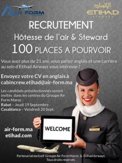 Etihad Airways revient au Maroc pour recruter son personnel naviguant commercial
