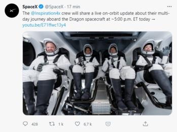 Tout se passe bien pour les astronautes amateurs de SpaceX