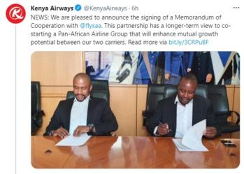 Kenya Airways et South African Airways signent un accord pour lancer un groupe aérien panafricain