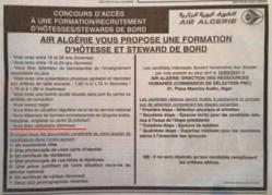 Les futures hôtesses d'Air Algérie doivent d'abord être célibataire