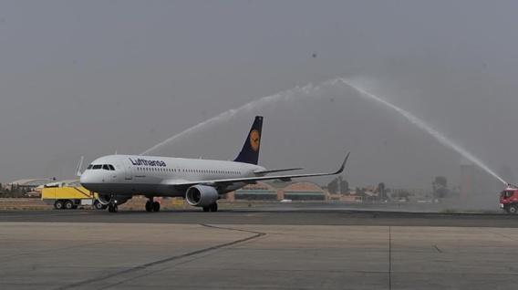 Accueil du premier vol Franfort-Marrakech en Octobre dernier