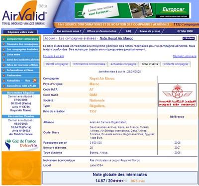 Plus de 3000 avis sur Royal Air Maroc