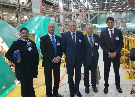 Hafid Alami (Ministre de l'Industrie, du Commerce, de l'Investissement et de l'Economie numérique) et Benbrahim Elandaloussi (GIMAS) chez Boeing