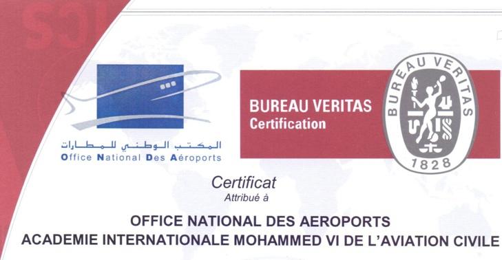 L'Académie Internationale Mohammed VI de l'Aviation Civile certifiée ISO9001 version 2008