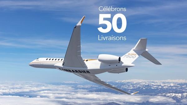 Bombardier célèbre la 50e livraison de son un avion Global 7500