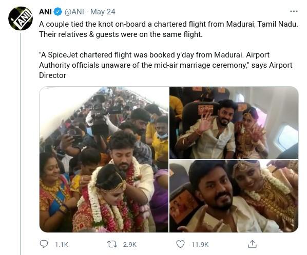 Inde: Un couple loue un avion pour un mariage en vol pour échapper aux restrictions liées au COVID-19