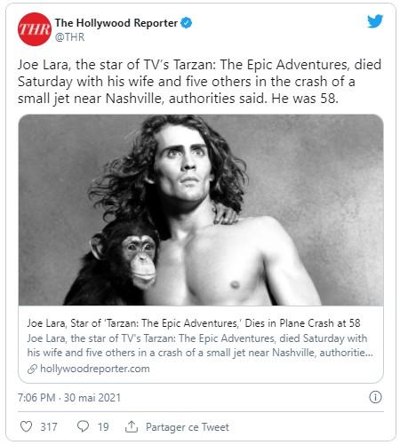 Mort de Joe Lara héros de Tarzan dans un crash d'avion