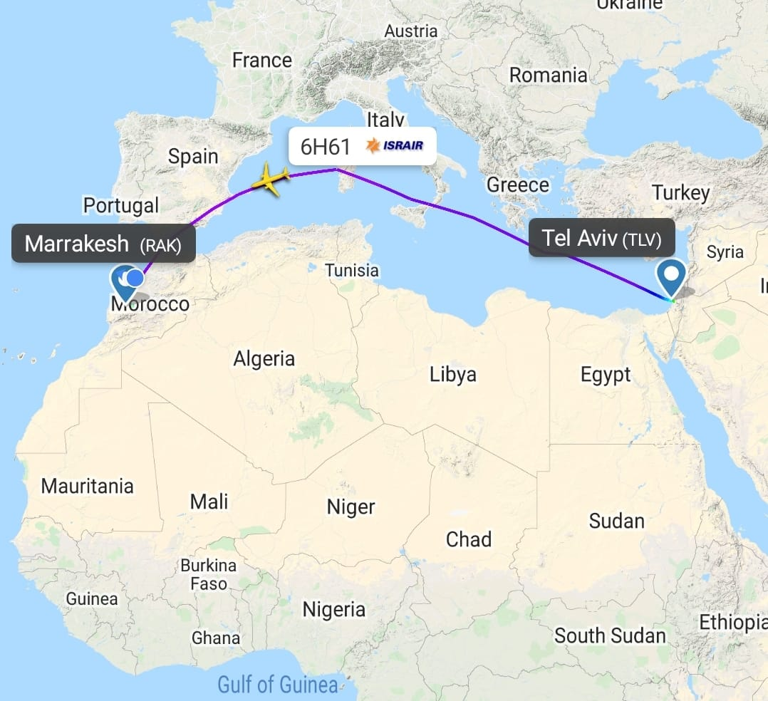 Trajet du vol 6H61 d'Israir