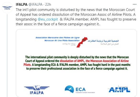 IFALPA : La dissolution de l'AMPL serait profondément préjudiciable à la sécurité des vols