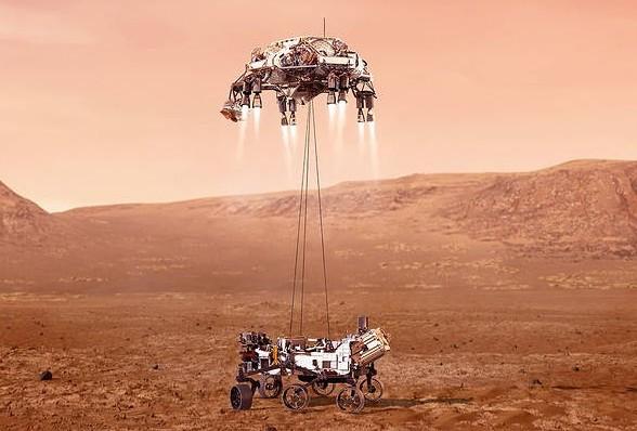 Illustration du Rover Persévérance atterrissant sur Mars - NASA