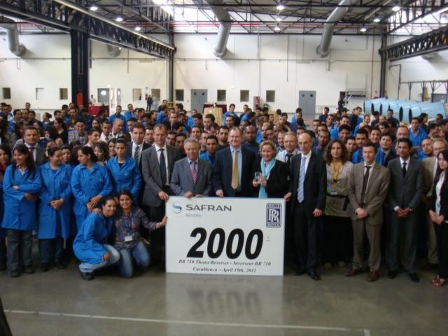 Aircelle Maroc à l'occasion du 2000ème inverseur de poussée BR710
