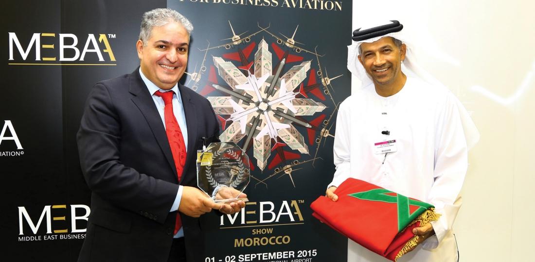 Khalid Hadachi (VIP Jet Flight), à gauche, et Ali Al Naqbi (MEBAA) à l'annonce de la tenu du Salon MEBAA au Maroc